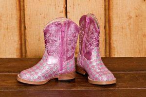 Kids Cowboy Boots- Roper Pink Bling Square Toe www.texasgoldminors.com